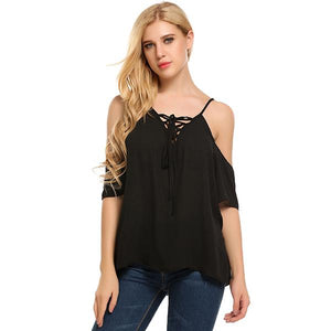 Sexy Casual Lace-Up Spaghetti Strap Blouse Top Verkadi.com