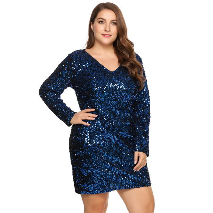 Sexy Deep Sequined Bodycon Club Party Plus Size Dress