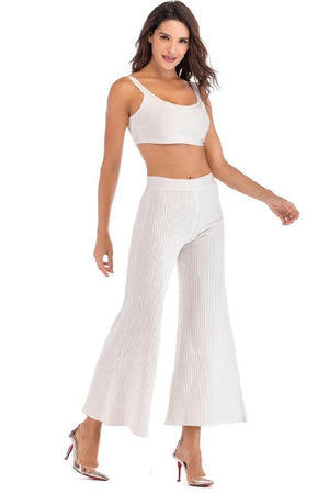 Backless Crop Top & Flare Pants Event Party Dress
