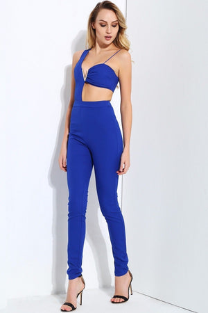 Elegant Blue Cut Out Slim Women Jumpsuit Dress