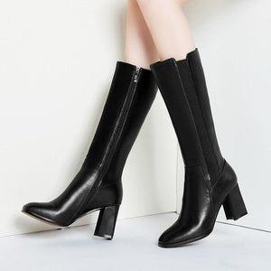 Smart Genuine Leather Mid Calf High Square Heel Long Boots Verkadi.com