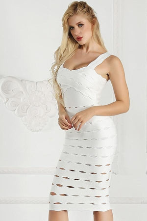Hollow Out Bandage Bodycon Midi Dress