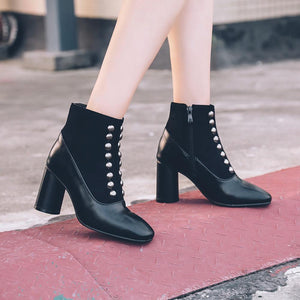 Squared Toe Thick High Heels Studded Ankle Riveted Boots Verkadi.com
