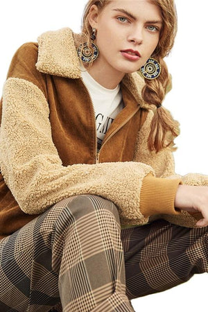 fuzzy collar corduroy street wear women Jackets