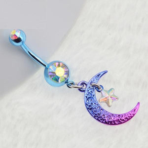 Rainbow Plated Star Navel Piercing  Belly Button Ring Verkadi.com