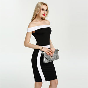 Classy Bodycon Off Shoulder Knee Length Slim Dress Verkadi.com