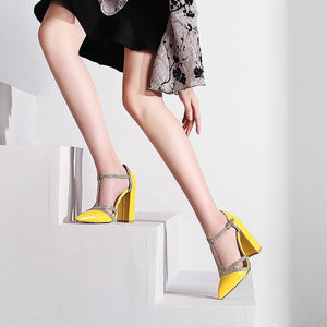 Pointed Toe T-strap Chunky High Heels Party Wedding Pumps Shoes Verkadi.com