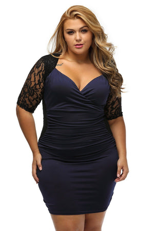Sexy Ruched Lace Illusion Bodycon Party  PLUS SIZE Dress