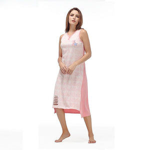 Cotton Sleeveless V-Neck Hollow Button Nightgown Verkadi.com