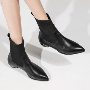 Stylish Leather Stretch Fabric Pointed Toe Martin Mid Calf Boots