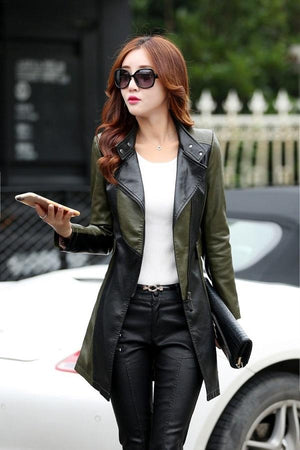 Plus Size Faux Leather Women Jackets Trench Coats