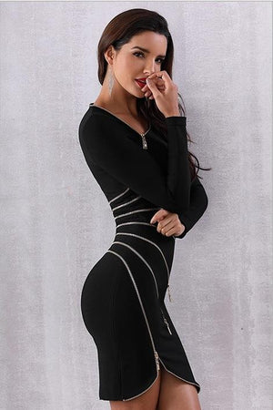 Zipper Asymmetrical One Shoulder Party Mini Dress