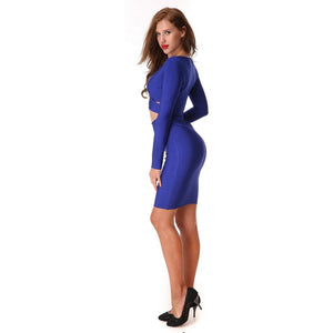 Blue Bandage Bodycon Cocktail Party Dress