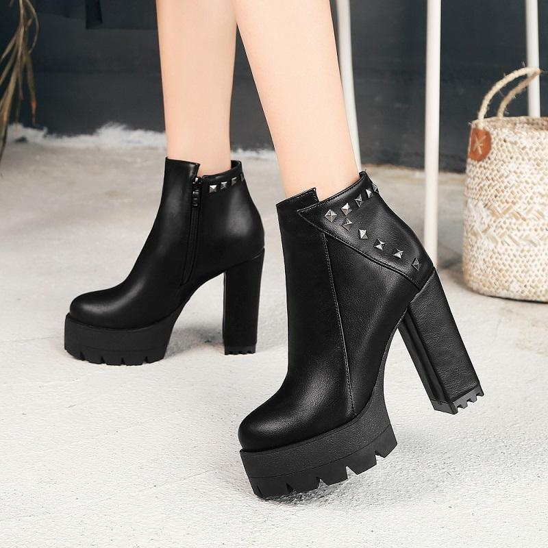 Hip Fashion High Heel Platform Ankle Boots