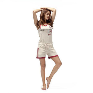 Cotton One Piece Sleeveless Sleepwear Pajama Set Verkadi.com