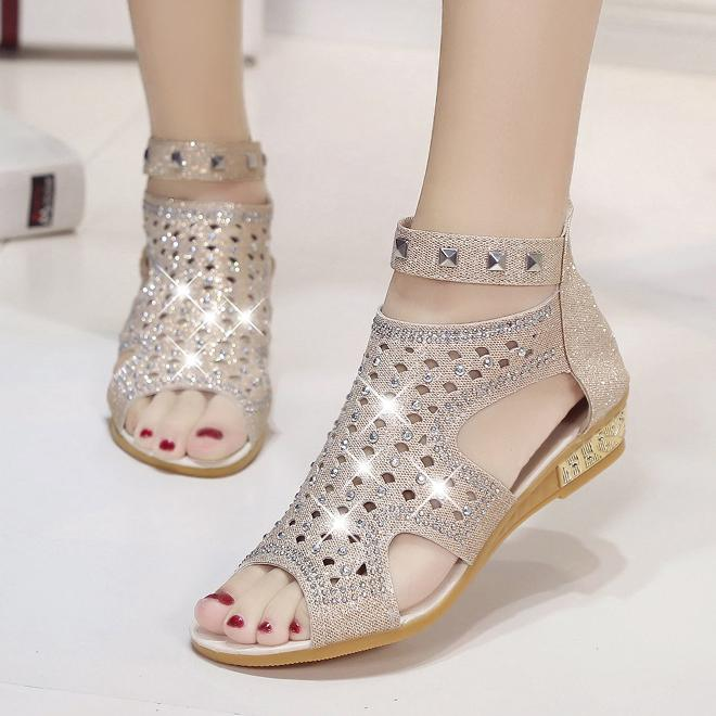 Open High Ankle Sandals With Crystal Sand-Alias Bling