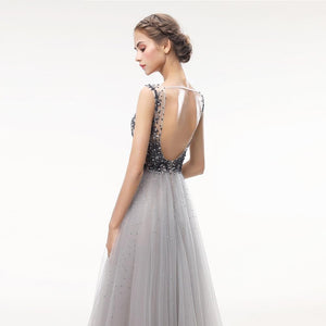 Beading Tulle Long V Neck Backless Evening Event Dress Verkadi.com