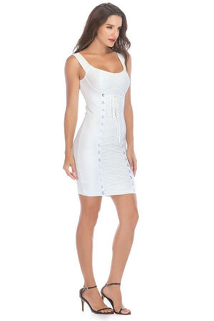 Sleeveless Slash Neck Lace Up Bandage Slim Mini Dress