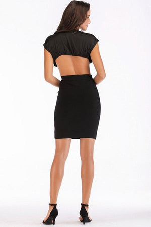 Crop Top And Bandage Skirt Club Backless Party Mini Dress