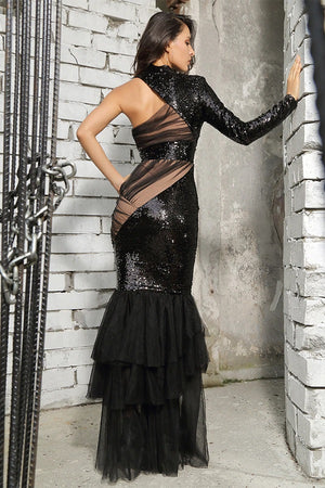 Classy Cut Out Mesh  Fishtail Sequins Formal Long Dress