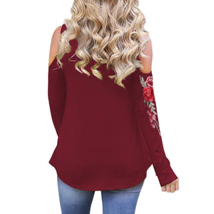 Sexy Cold Shoulder Long Sleeves Floral Embroidery Top Verkadi.com