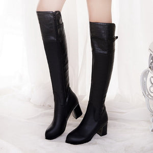 Hot Look Over The Knee PU Leather Long Boots Verkadi.com