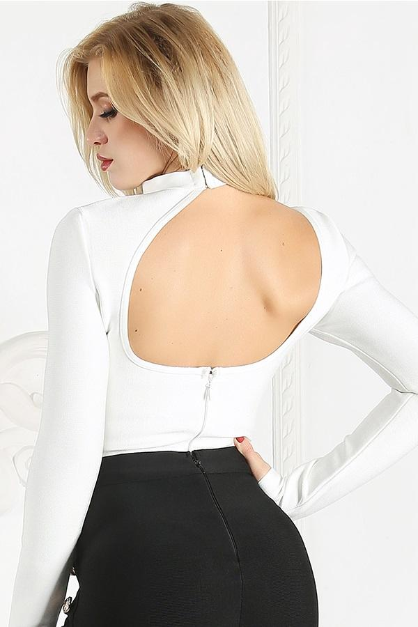 Classy Backless Hollow Out Bodysuit Romper