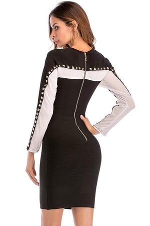 Long Sleeve Bodycon Rivets Patchwork Mesh Mini Dress