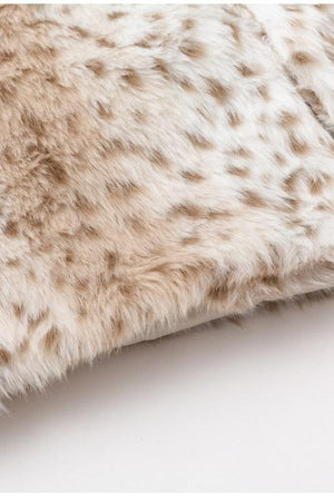Leopard Pattern Fluffy Teddy Faux Fur Women Jackets