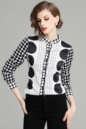 Polka Dot Full Sleeve Women's Shirt Blouse Top