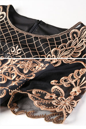 Sexy O-Neck Short Sleeve Embroidery Patchwork A-Line Mini Dress
