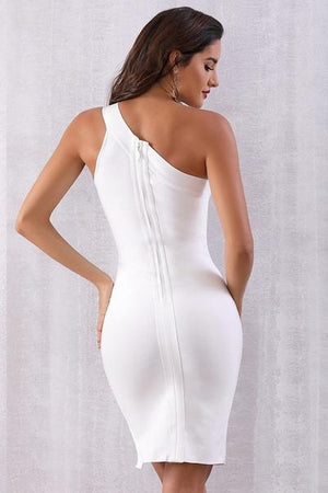 Designer Casual White One Shoulder Hollow Out Midi Dress