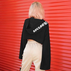 Hip Street Wear Letter Print Irregular Crop Top Hoodie Sweatshirt Verkadi.com