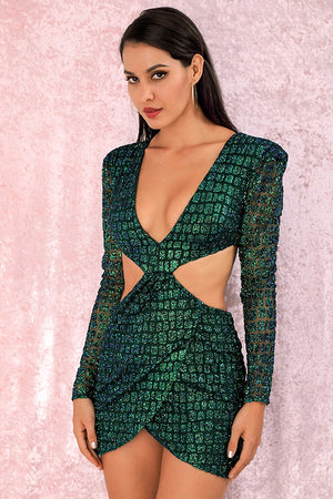 Dark Green Deep V-Neck Open Back Cross Club Party Mini Dress