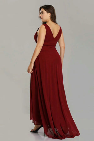 Elegant Plus Size A Line Sleeveless High Low Gown Formal Dress