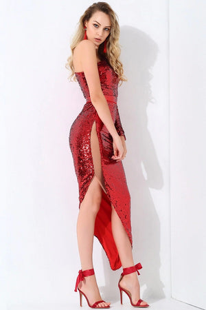Elegant One Shoulder Mesh Splicing Bodycon Party Long Dress
