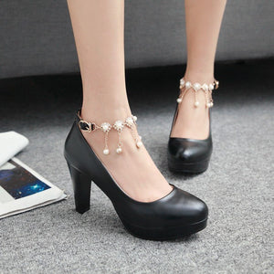 New Classy Platform High Heels Banquet String Bead Pumps Shoes