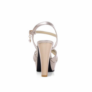 Classy Party Wedding Square High Heel Platform Sandals