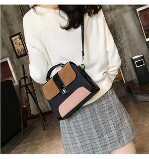 Casual Leather Sling Cross Body Patchwork Handbag