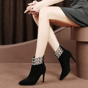 Iconic Italian Style Kid Suede Thin High Heel Ankle Boots Verkadi.com