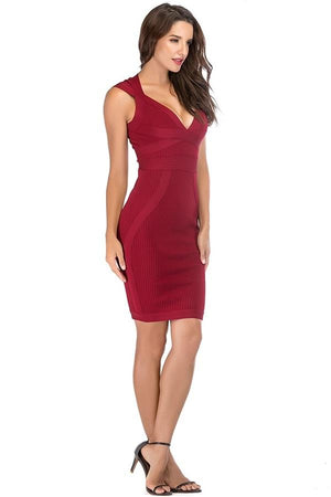 Sleeveless V Neck Bodycon Bandage Midi Dress