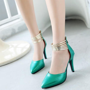 Elegant Pointed Toe Thin Ankle Wrap High Heel Pumps Shoes Verkadi.com