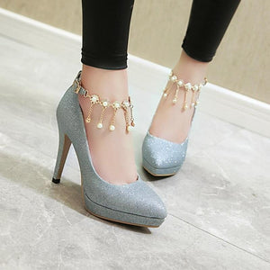Smart High Heel Ankle Strap String Bead Pump Shoes Verkadi.com