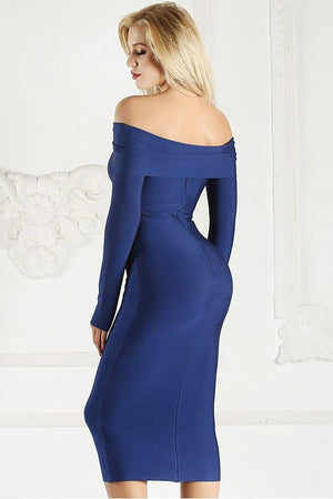 Long Sleeve Off Shoulder Bodycon Midi Dress
