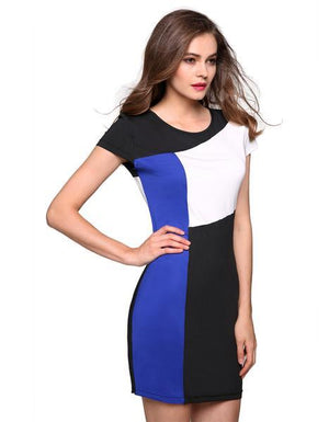Splicing Summer Patchwork Contrast Color Stretch Dress