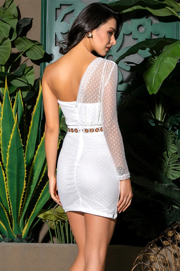 White Tube Top Pleated Bodycon Cocktail Party Mini Dress