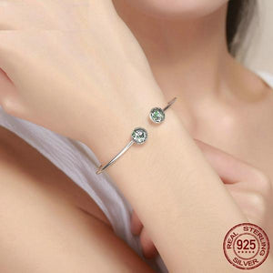 925 Sterling Silver Green Crystal Bangle
