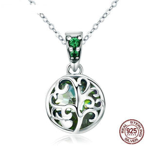 Sterling Silver Green Crystal Pendant Necklace