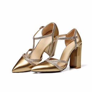 Elegant T-Strap Pointed Toe Sexy High Heel Pump Sandals