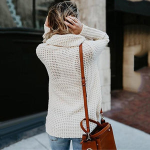 Hot Knitted Long Sleeve Scarf Neck Sweater Cardigan